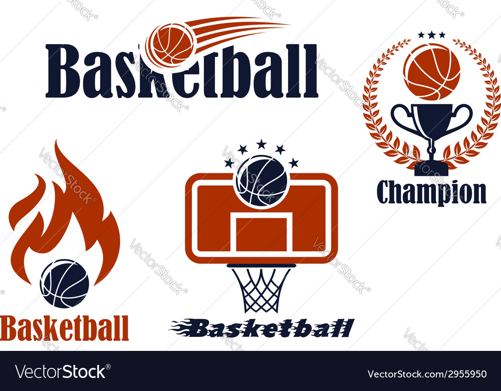 Basketball sport team emblems and symbols vector | Price: 1 Credit (USD $1)