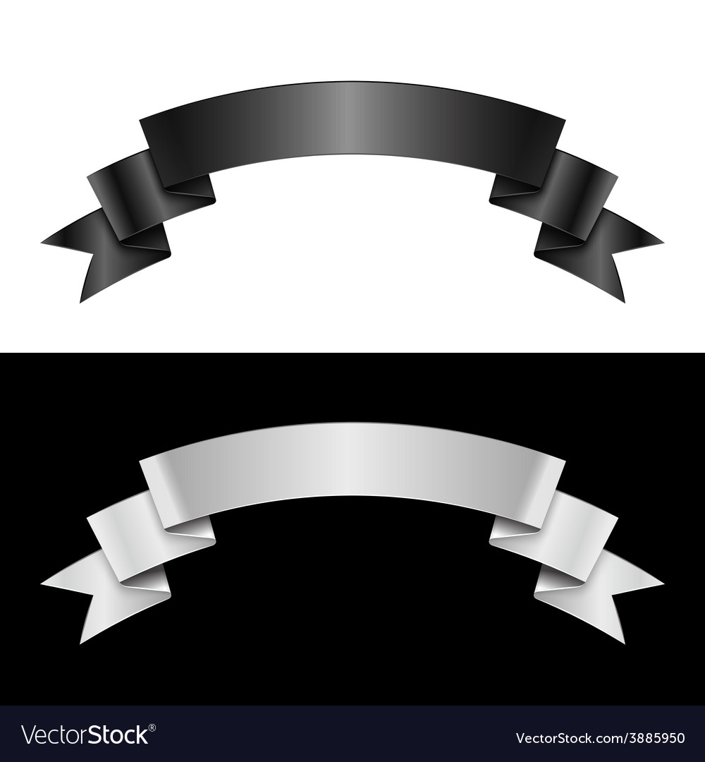 Black and white ribbon vector | Price: 1 Credit (USD $1)