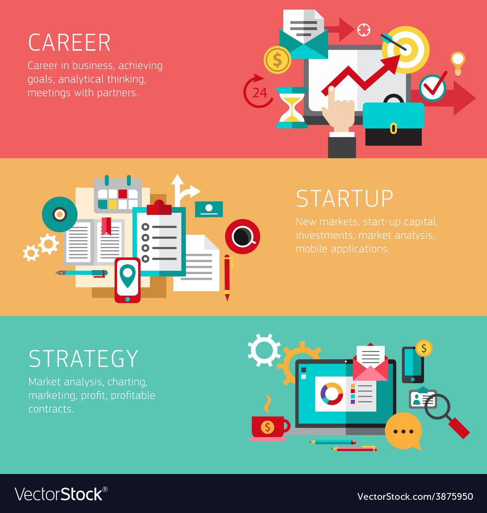 Business money finance concept flat icons set vector