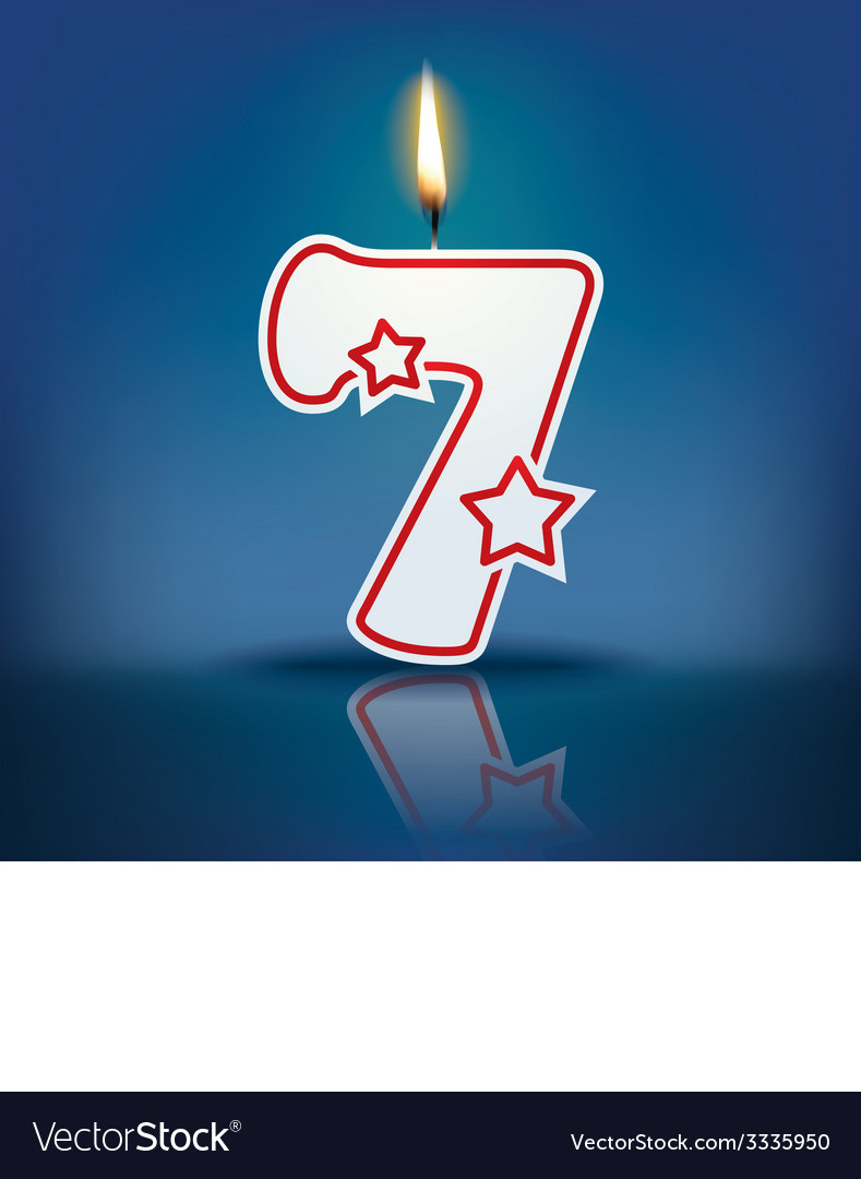 Candle number 7 with flame vector | Price: 1 Credit (USD $1)