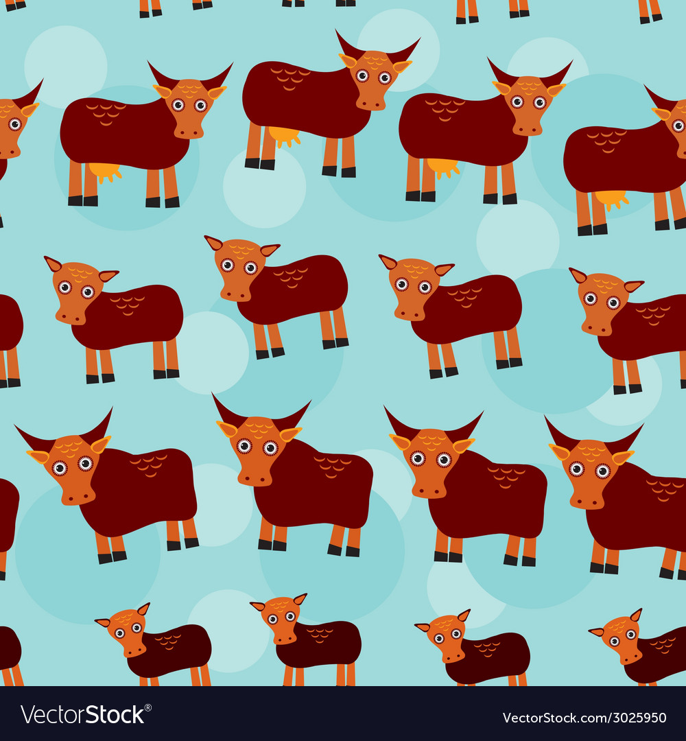 Cow bull and two calves set of funny animals with vector | Price: 1 Credit (USD $1)