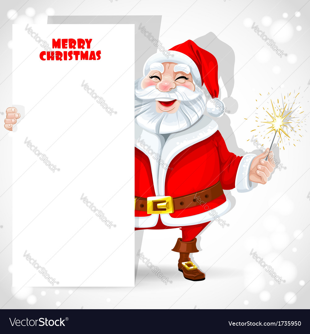Cute santa claus holding banner and sparkler vector | Price: 1 Credit (USD $1)
