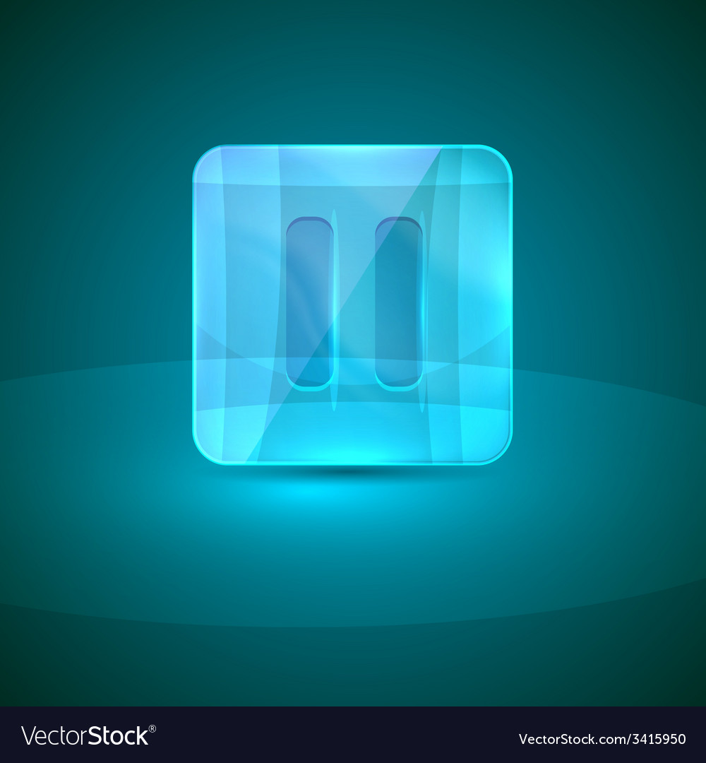 Glass icon with pause sign vector | Price: 1 Credit (USD $1)