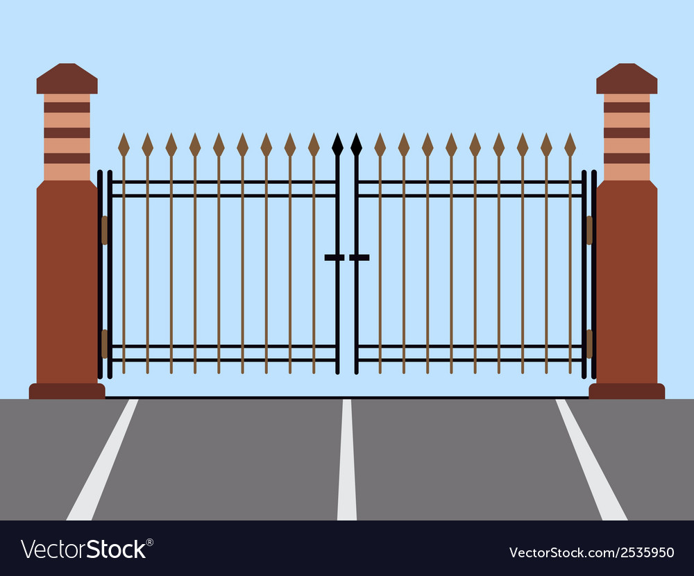 Metal gate flat vector | Price: 1 Credit (USD $1)