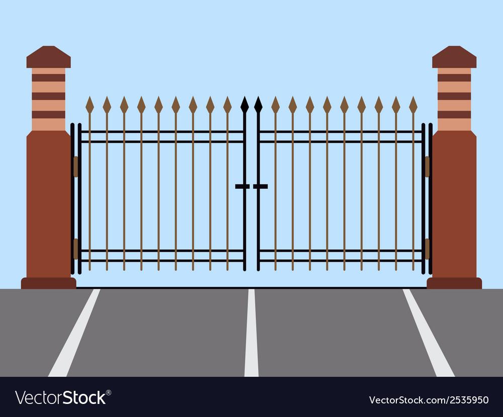 Metal gate flat vector | Price: 1 Credit (USD $1)