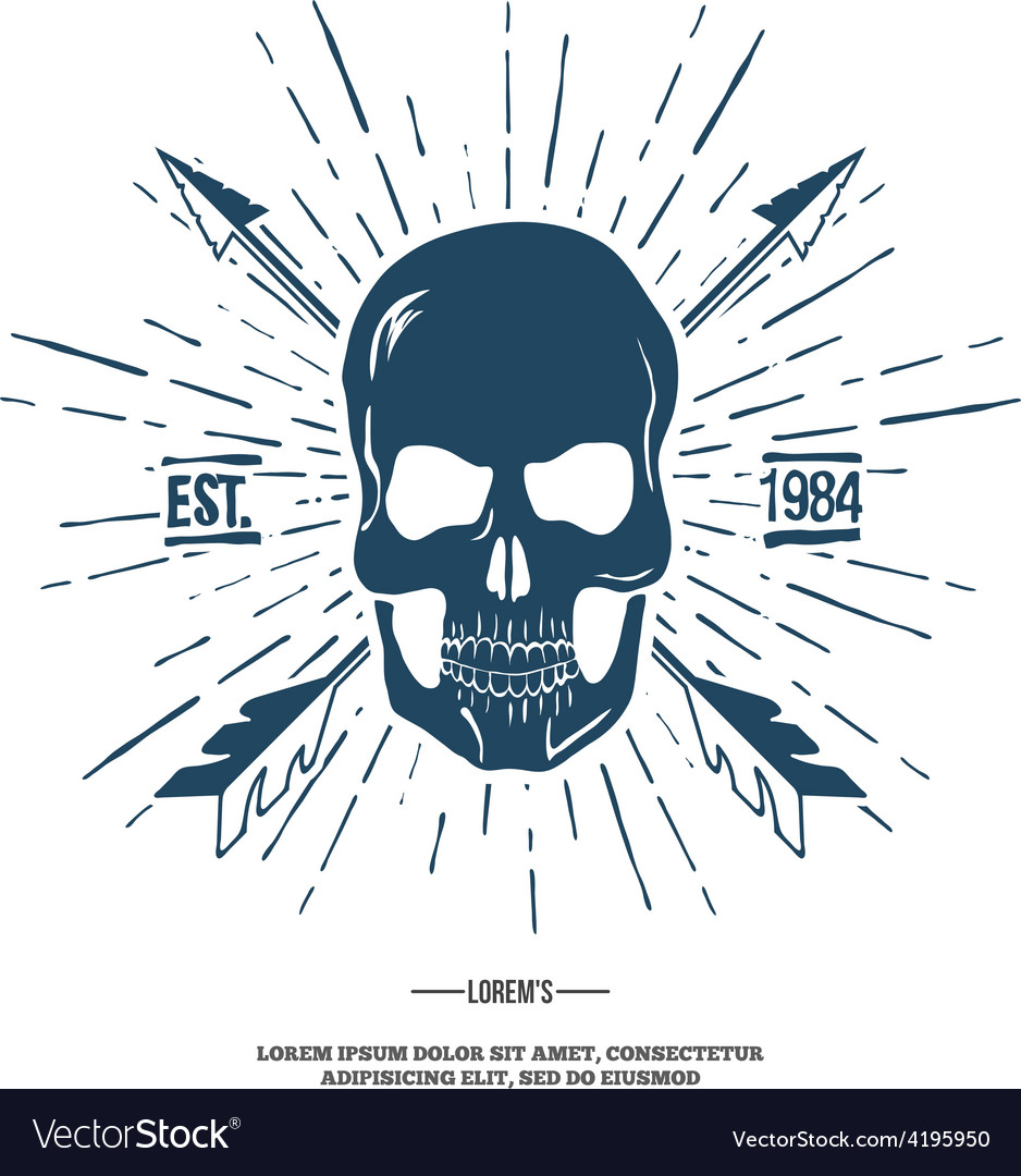 Skull with crossed arrows isolated on white vector | Price: 1 Credit (USD $1)