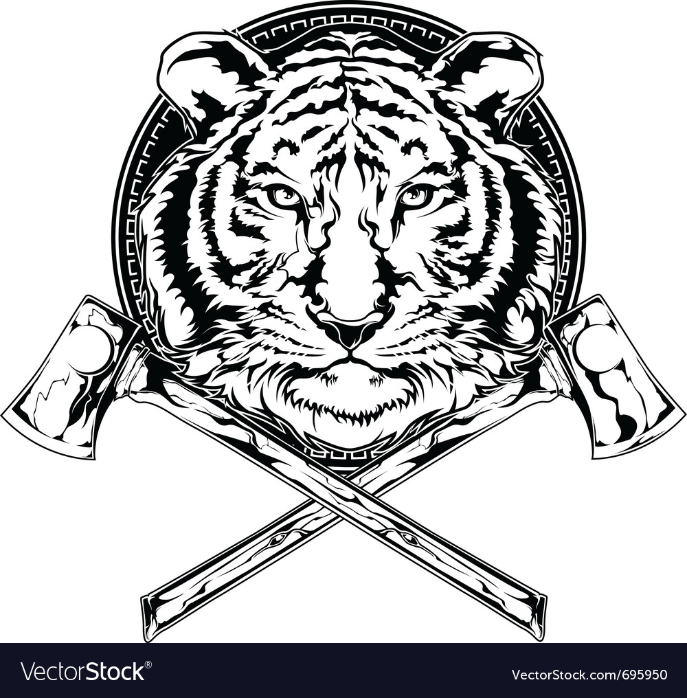 Tiger and axes vector | Price: 1 Credit (USD $1)