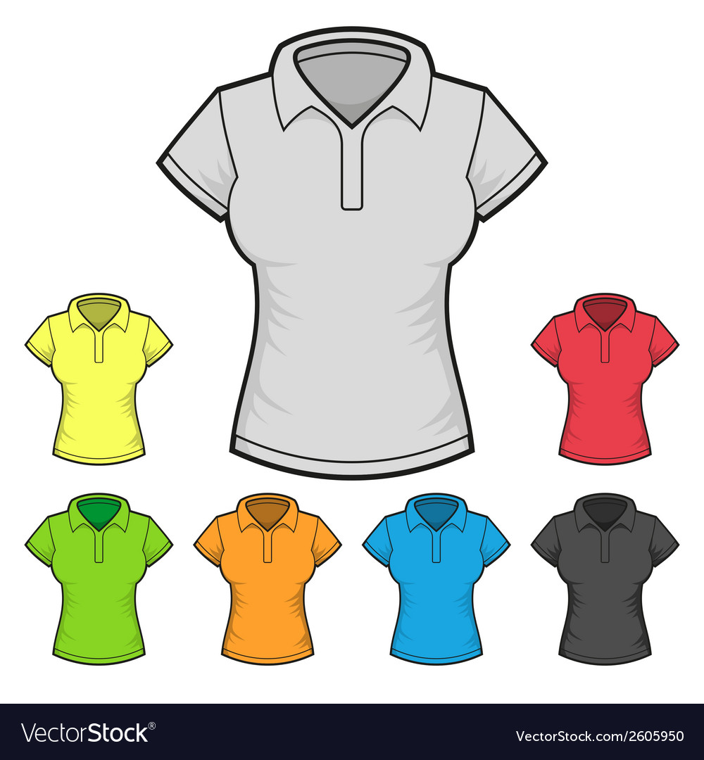 Womens polo t-shirt design template color set vector | Price: 1 Credit (USD $1)