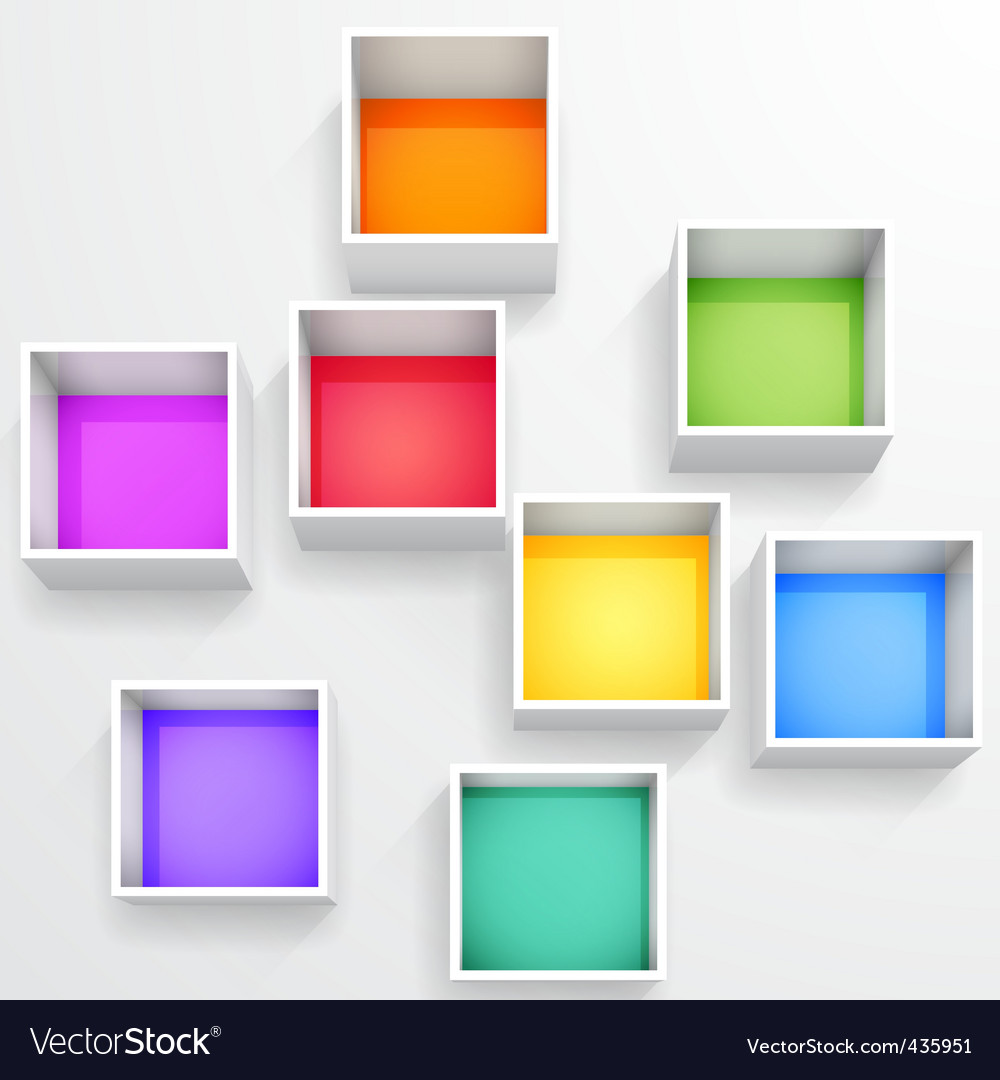 3d isolated empty colorful bookshelf vector