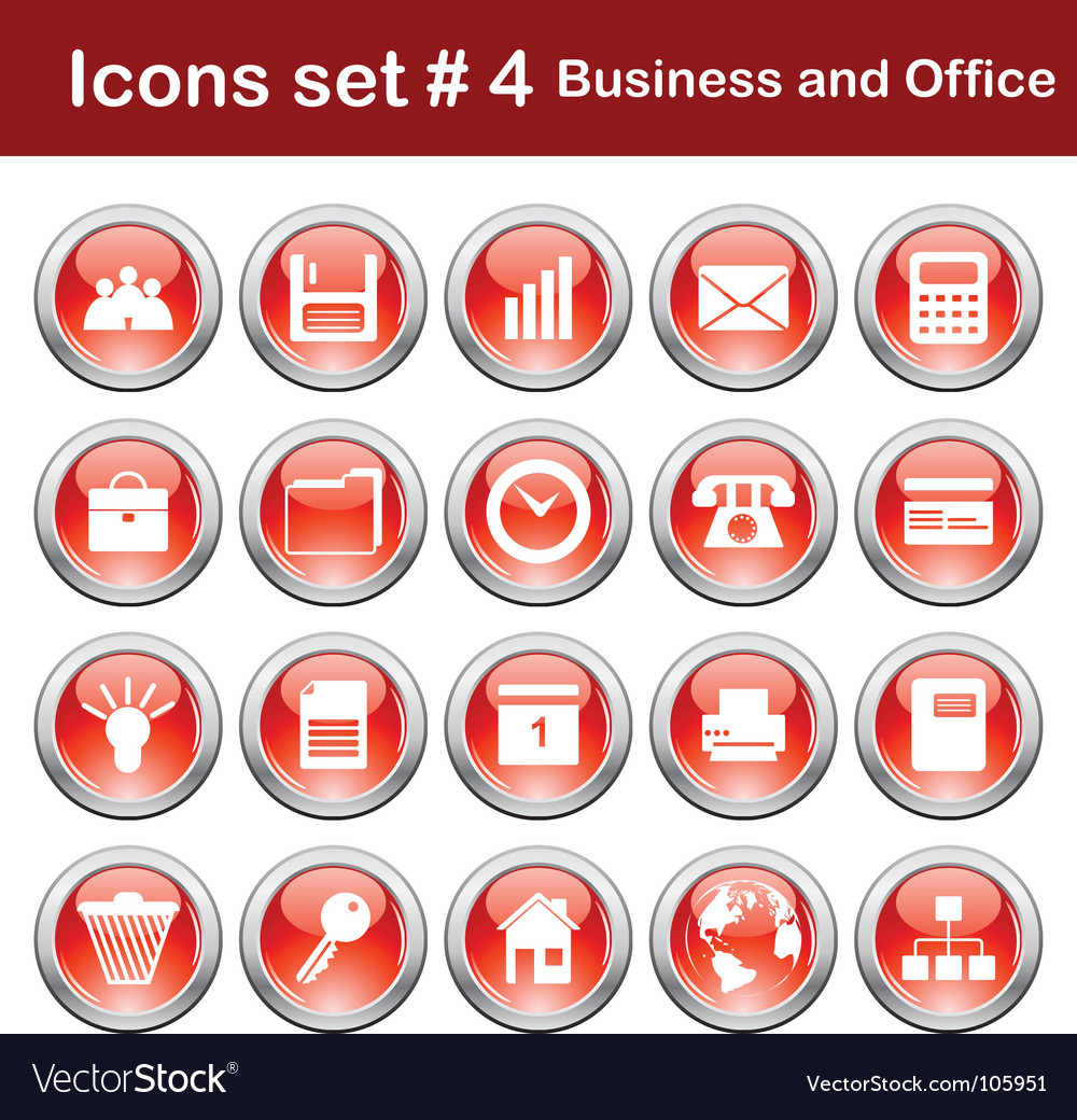 Business and office icons set vector | Price: 1 Credit (USD $1)