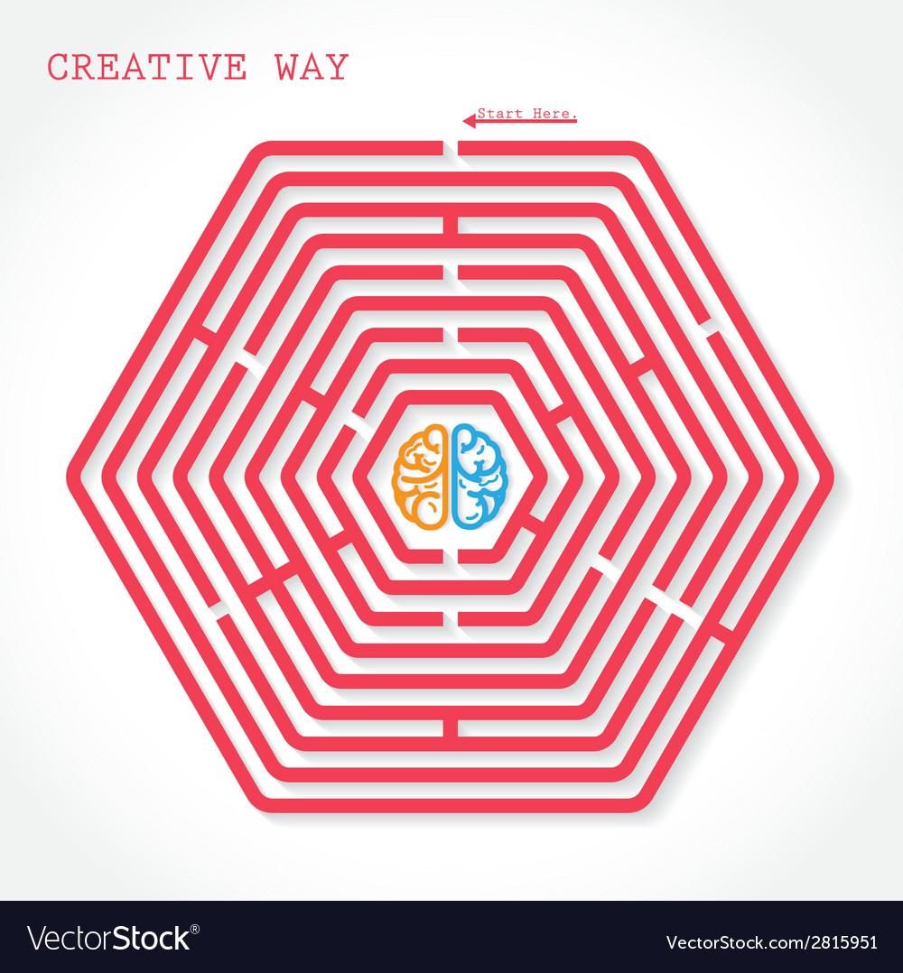 Creative hexagon maze way concept vector | Price: 1 Credit (USD $1)