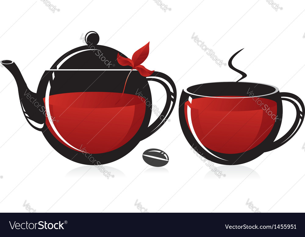 Glass teapot and mug vector | Price: 1 Credit (USD $1)