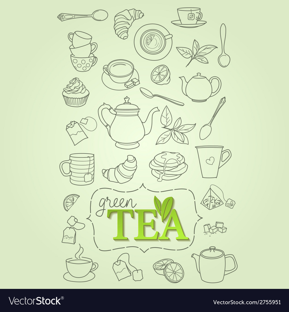 Hand drawn green tea doodle concept vector | Price: 1 Credit (USD $1)
