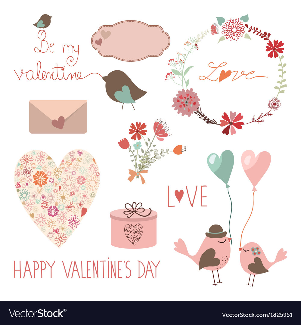 Happy valentines day set vector | Price: 1 Credit (USD $1)
