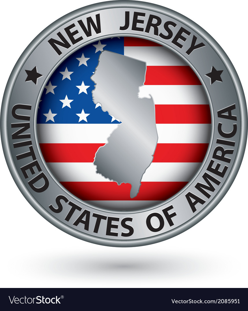 New jersey state silver label with state map vector | Price: 1 Credit (USD $1)