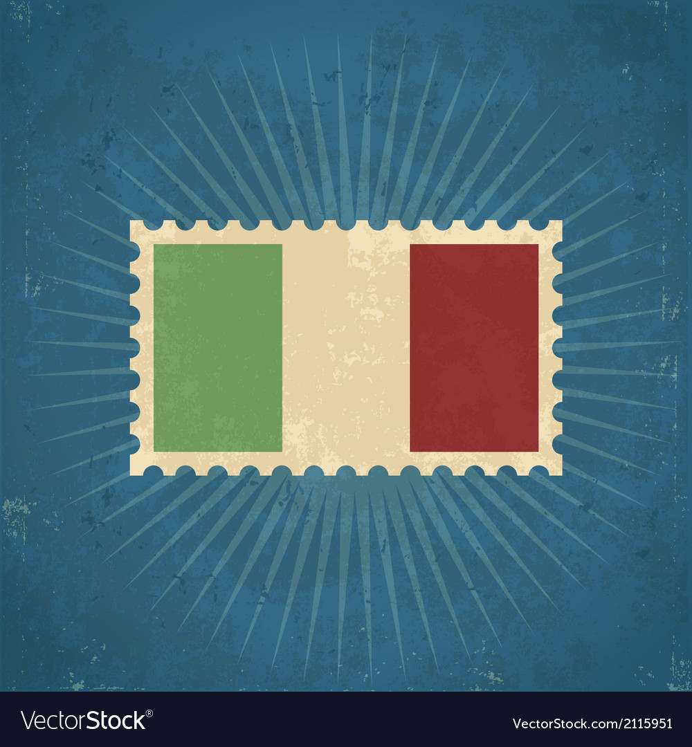 Retro italy flag postage stamp vector | Price: 1 Credit (USD $1)