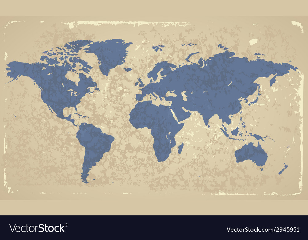 Retro-styled map of the world vector | Price: 1 Credit (USD $1)