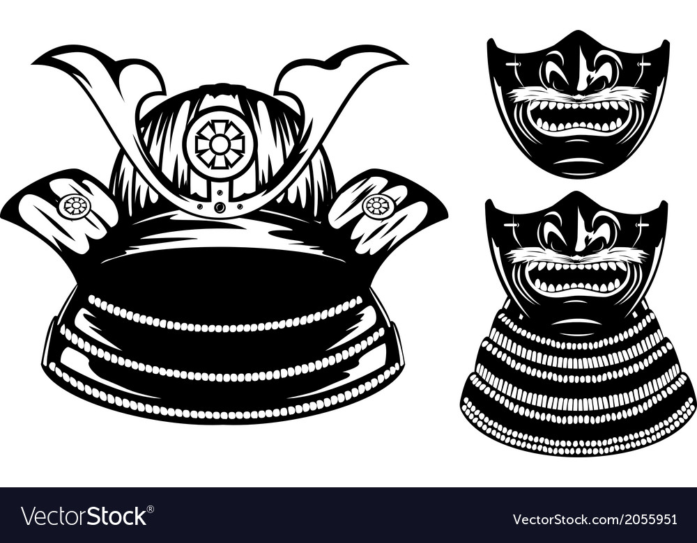 Samurai helmet menpo and mempo with yodare kake vector | Price: 1 Credit (USD $1)