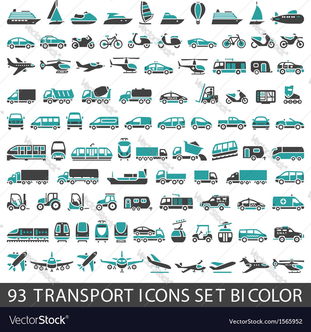 93 transport icons set bicolor vector | Price: 3 Credit (USD $3)