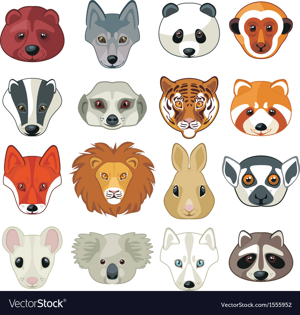 Animal heads set vector | Price: 1 Credit (USD $1)