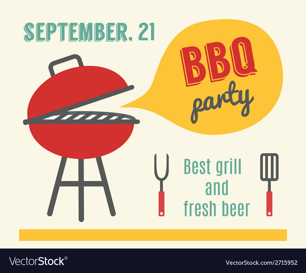 Bbq party barbeque and grill cooking flat design vector | Price: 1 Credit (USD $1)