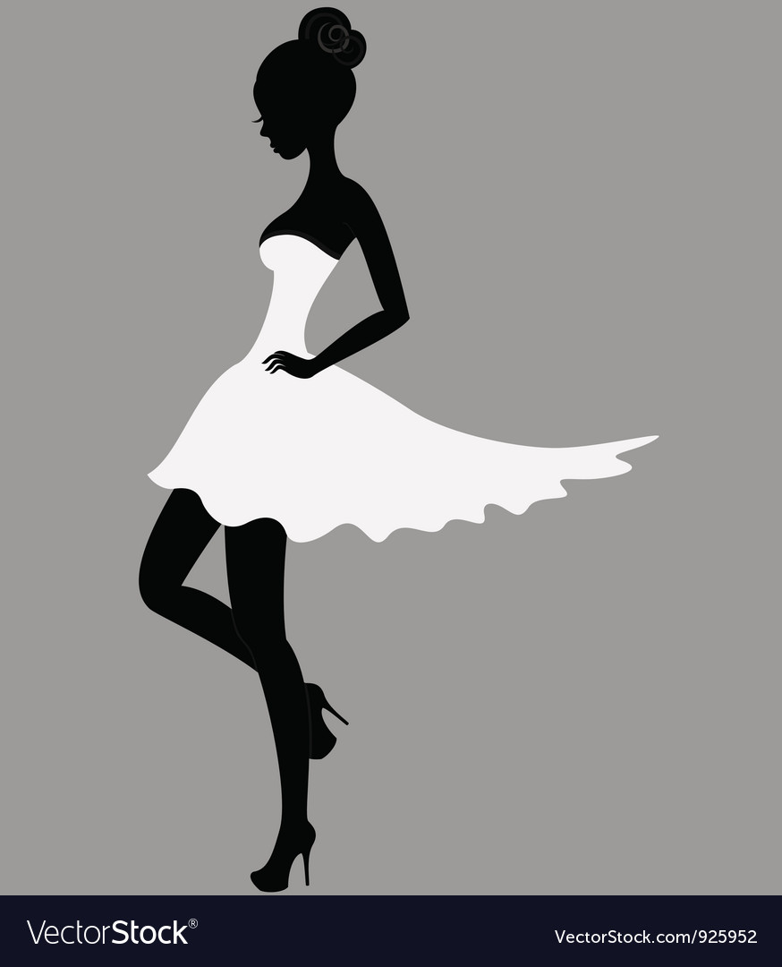 Beautiful girl in white dress vector | Price: 1 Credit (USD $1)