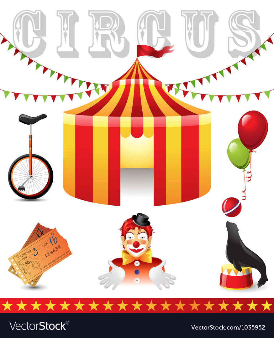 Circus icons vector | Price: 3 Credit (USD $3)