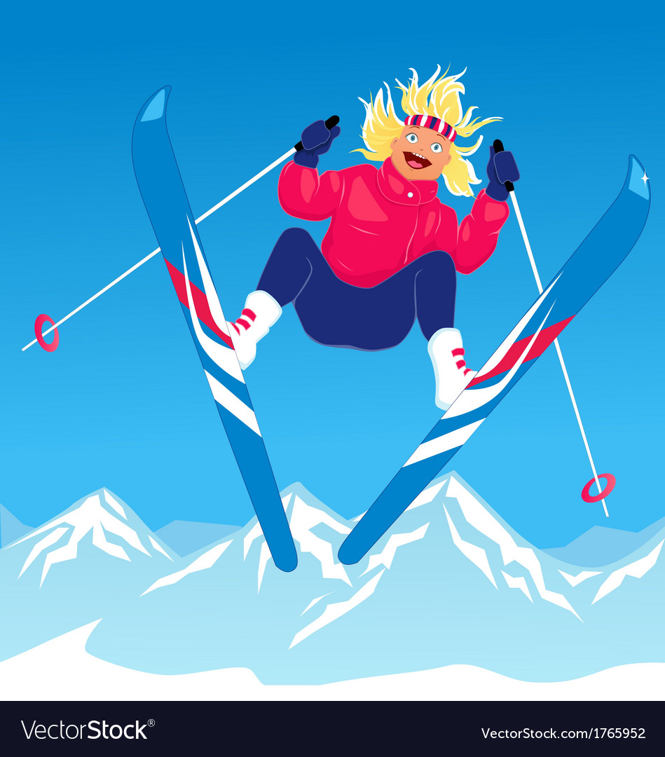 Girl ski jumping vector   Price: 1 Credit (USD $1)