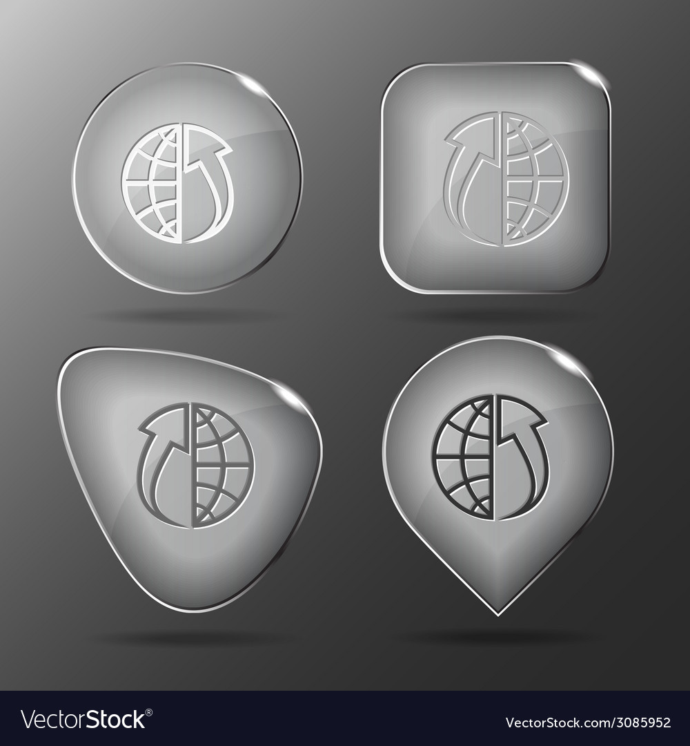 Globe and array up glass buttons vector | Price: 1 Credit (USD $1)