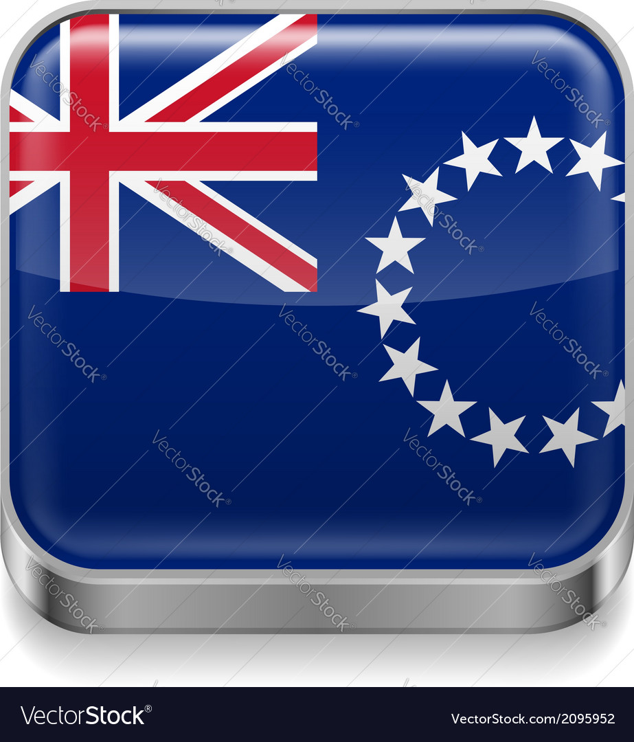 Metal icon of cook islands vector | Price: 1 Credit (USD $1)