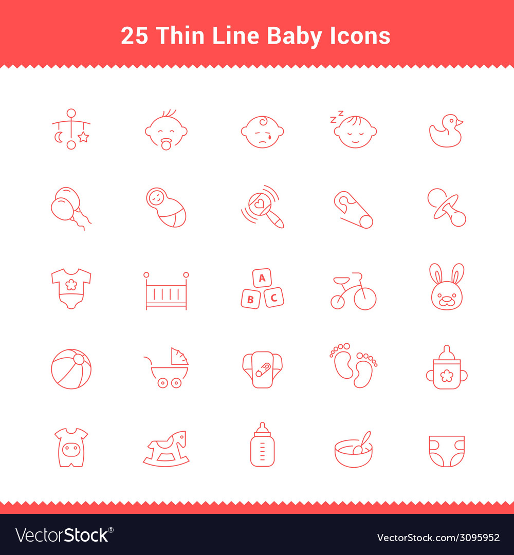Set of thin line stroke baby icon vector | Price: 1 Credit (USD $1)