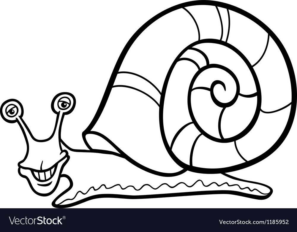 Snail mollusk cartoon for coloring book vector | Price: 1 Credit (USD $1)
