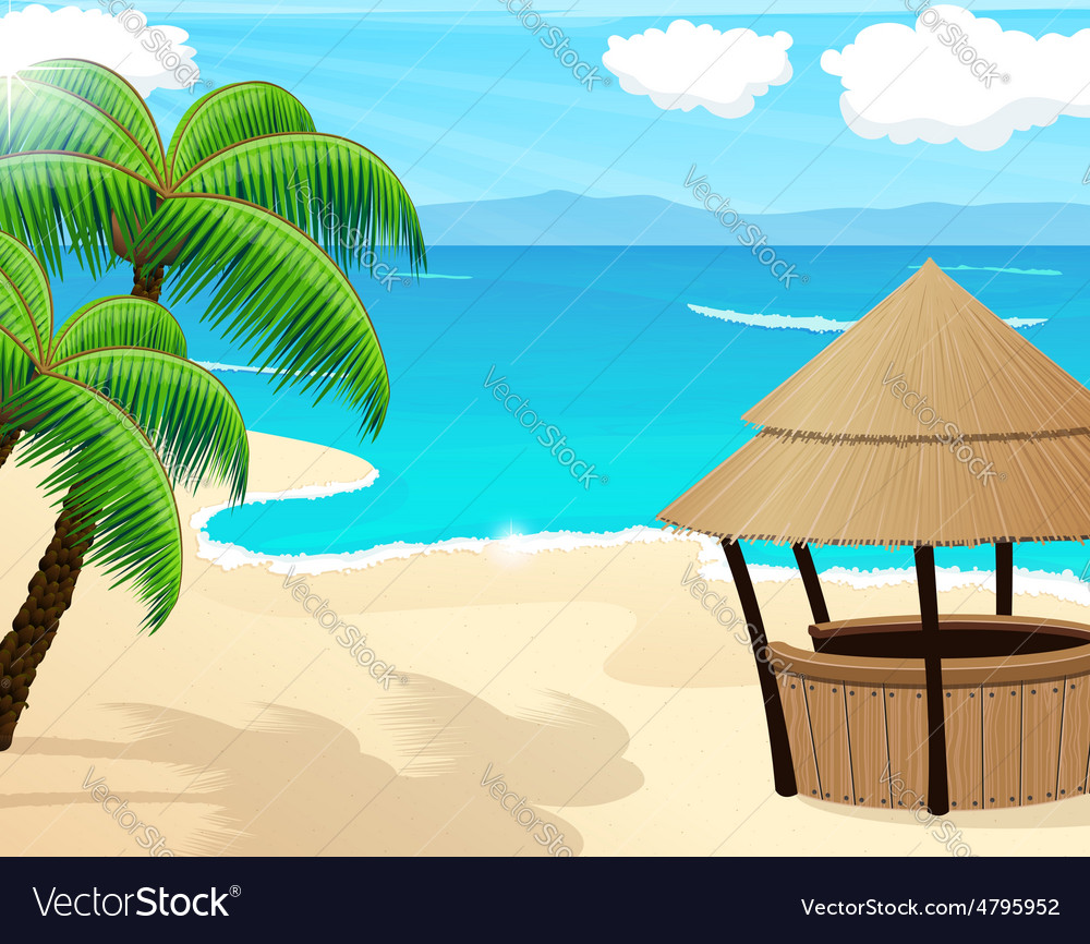 Tropical seascape vector | Price: 3 Credit (USD $3)