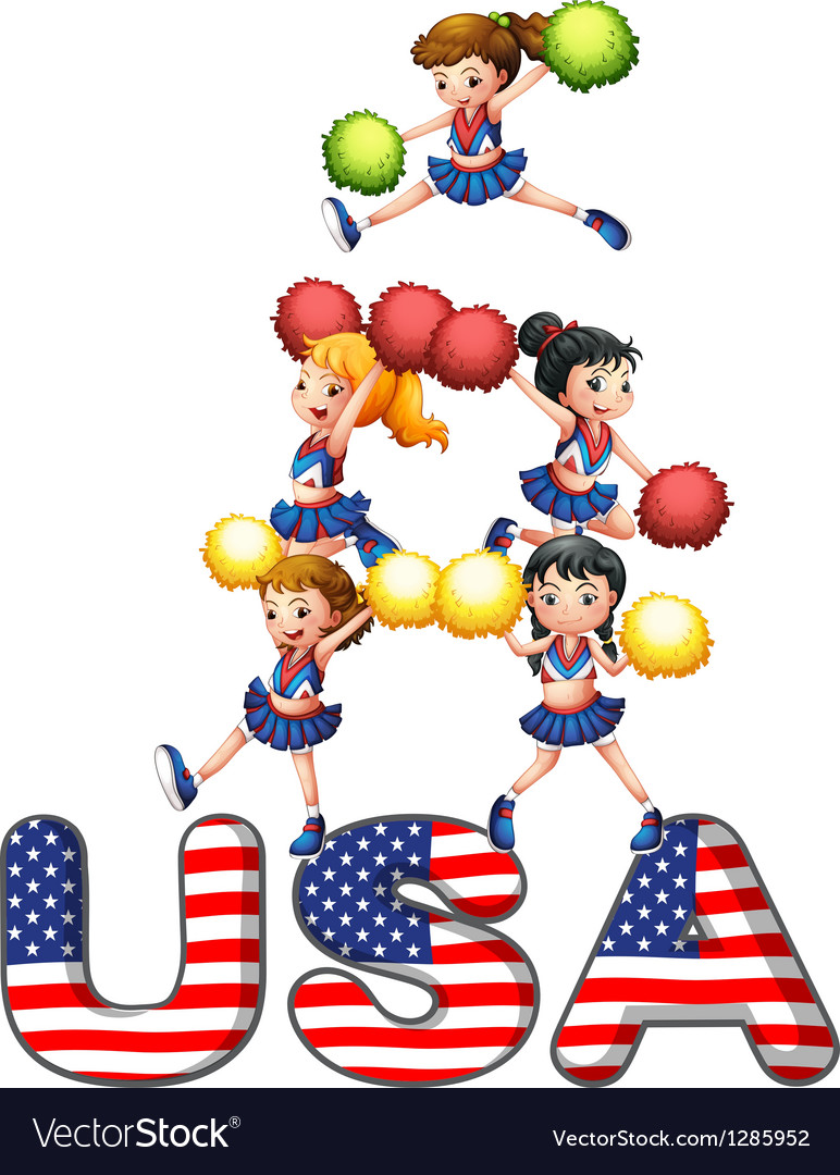 The usa cheering squad vector | Price: 1 Credit (USD $1)