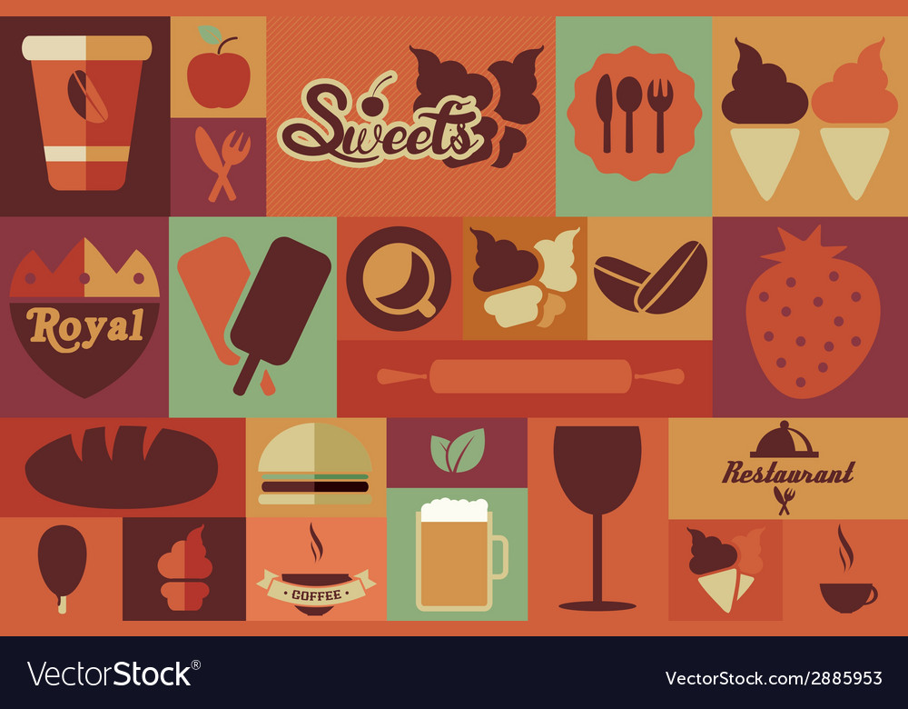 Collection of flat vintage retro food icons flat vector | Price: 1 Credit (USD $1)