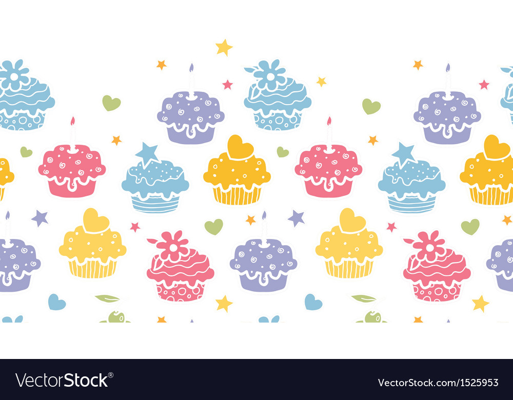 Colorful cupcake party horizontal seamless pattern vector | Price: 1 Credit (USD $1)
