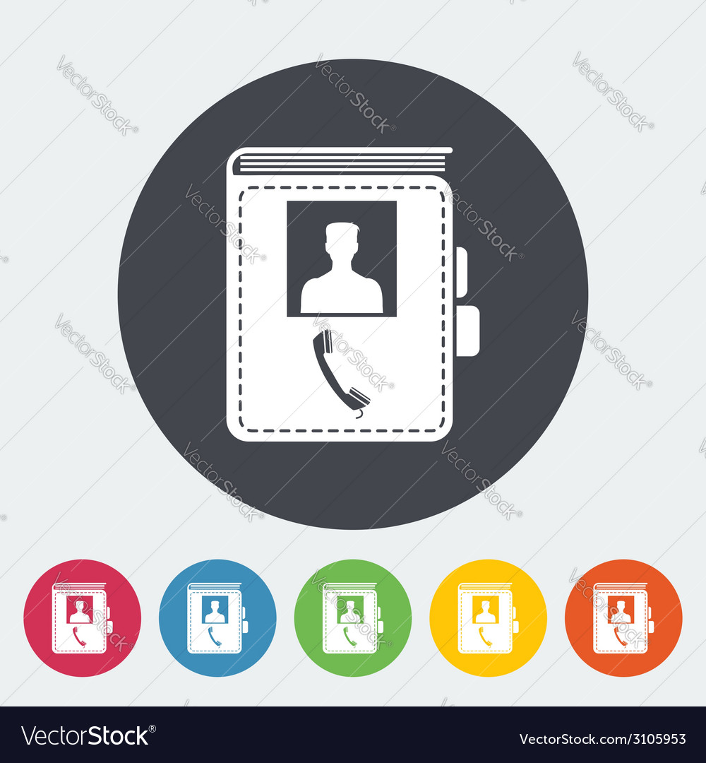 Contact book single icon vector | Price: 1 Credit (USD $1)