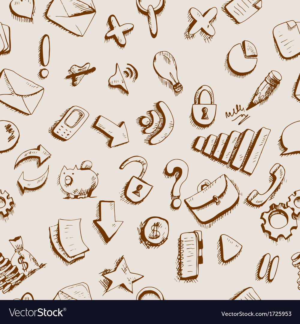 Doodle internet icons seamless background vector | Price: 1 Credit (USD $1)