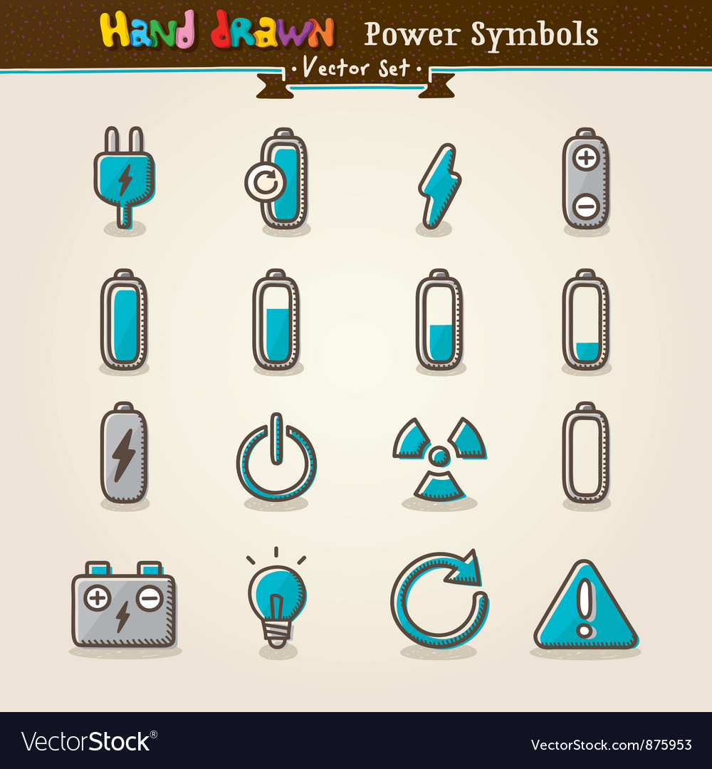 Hand draw power symbols vector | Price: 3 Credit (USD $3)