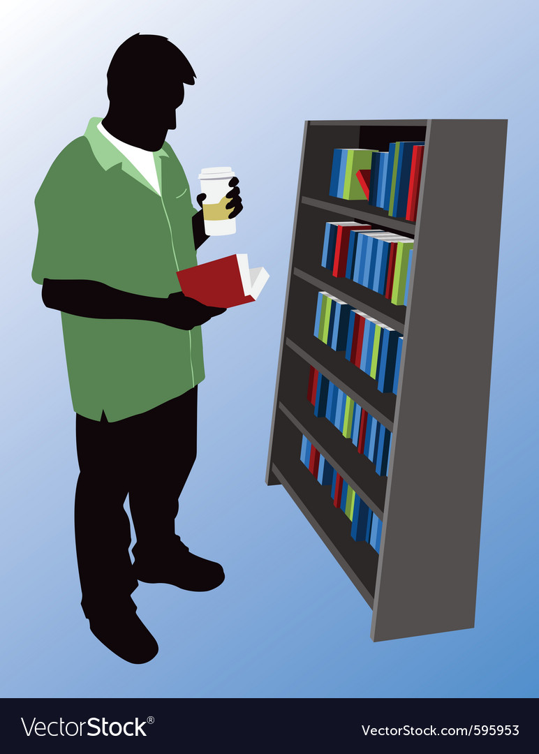 Man reading at bookstore vector | Price: 1 Credit (USD $1)