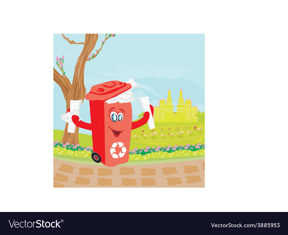 Recycling red bin with papers - character vector | Price: 1 Credit (USD $1)