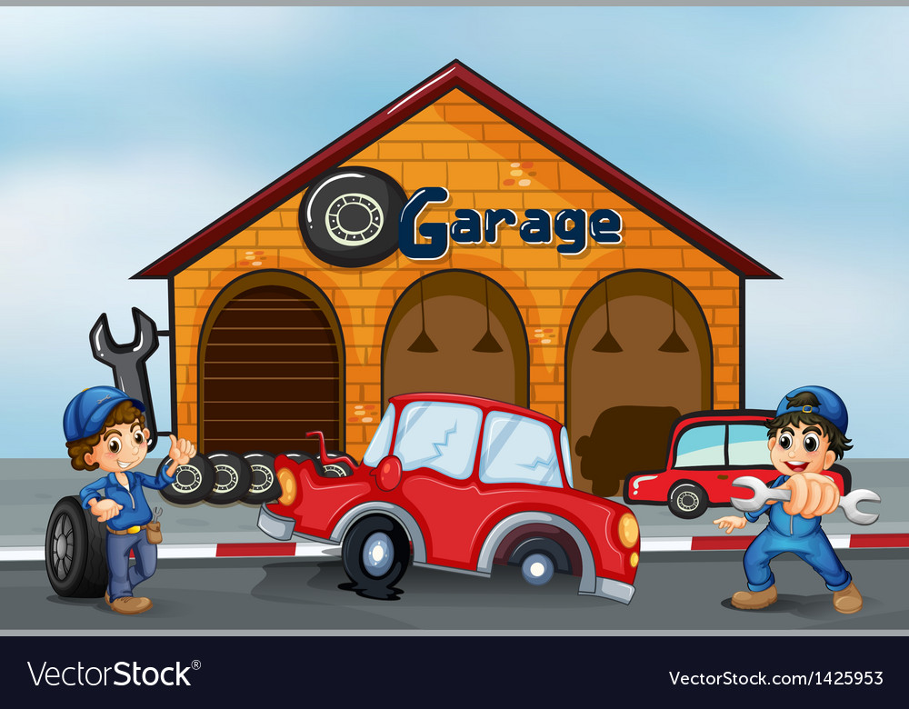 Two adorable boys in front of the garage vector | Price: 1 Credit (USD $1)
