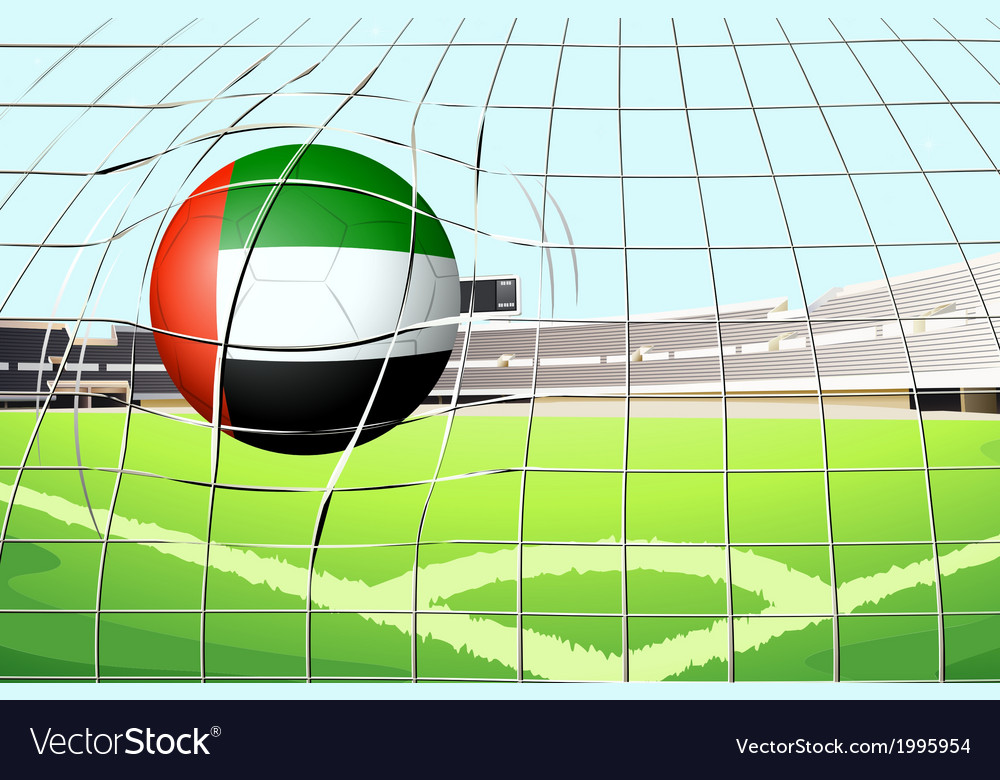 A ball hitting a goal with the united arab vector | Price: 1 Credit (USD $1)