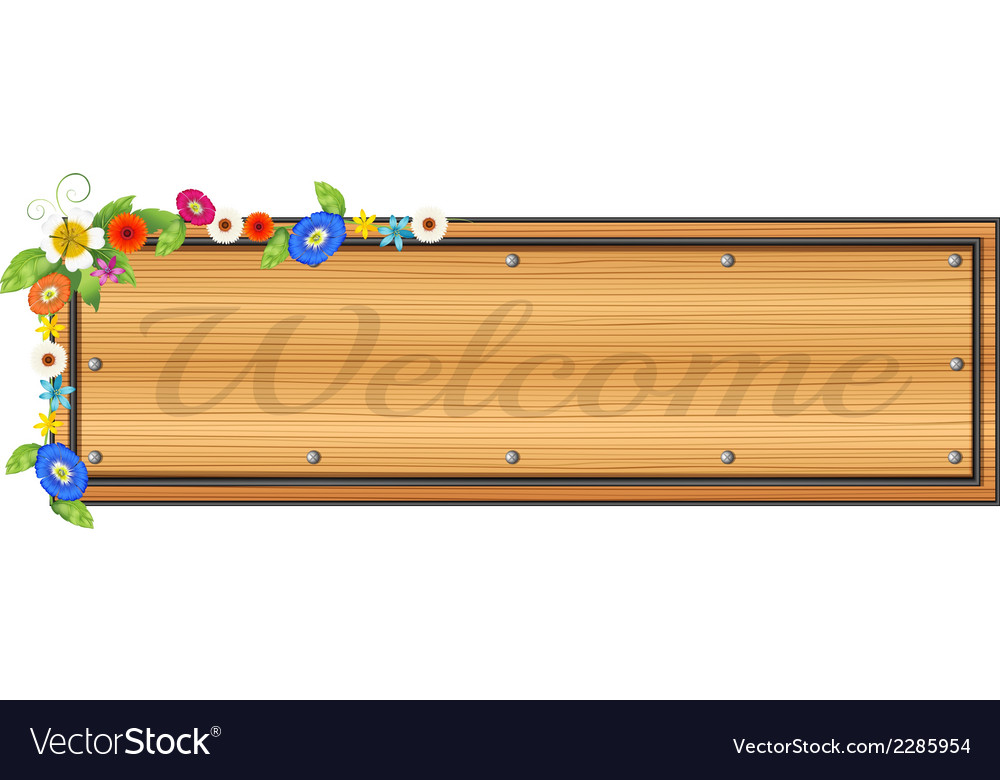 A wooden signboard with plants vector | Price: 1 Credit (USD $1)