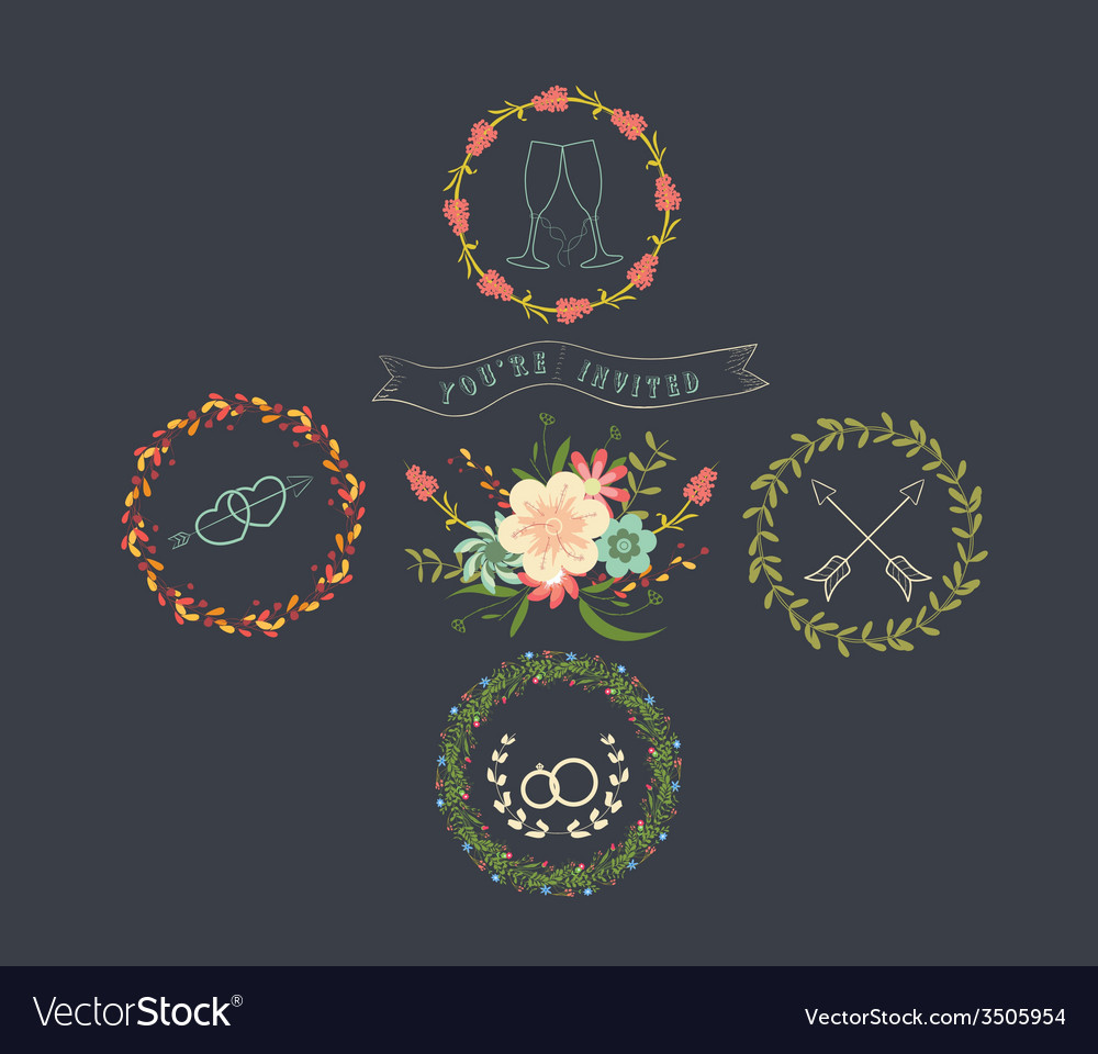 Chalkboard natural floral wreaths vector | Price: 1 Credit (USD $1)