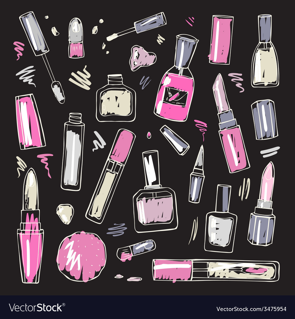 Cosmetics makeup set vector | Price: 1 Credit (USD $1)
