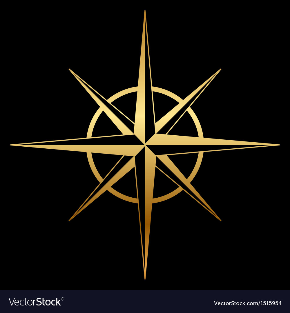 Gold compass icon vector | Price: 1 Credit (USD $1)