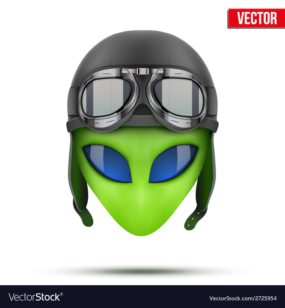 Green alien head in aviator helmet vector | Price: 1 Credit (USD $1)