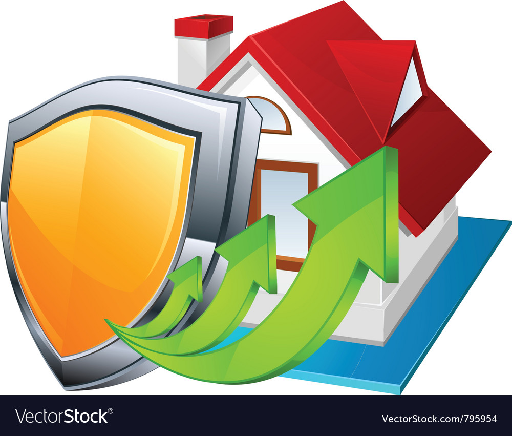 Model house with shield vector | Price: 1 Credit (USD $1)