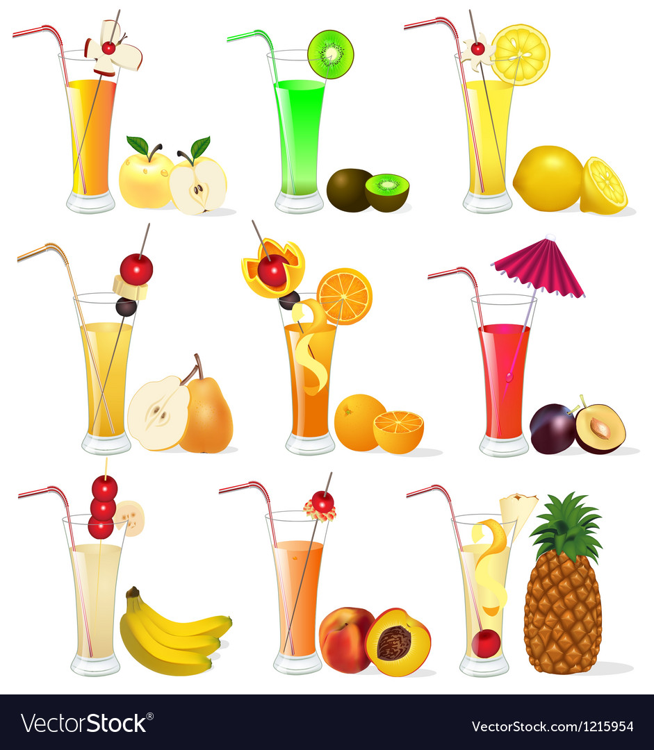 Set of fruit juices from pineapple plum banana p vector | Price: 3 Credit (USD $3)
